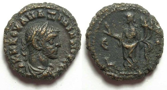 Ancient Coins - Alexandria, Maximianus, AD 286 to 305, Yr-5 potin tetradrachm. 19 mm.