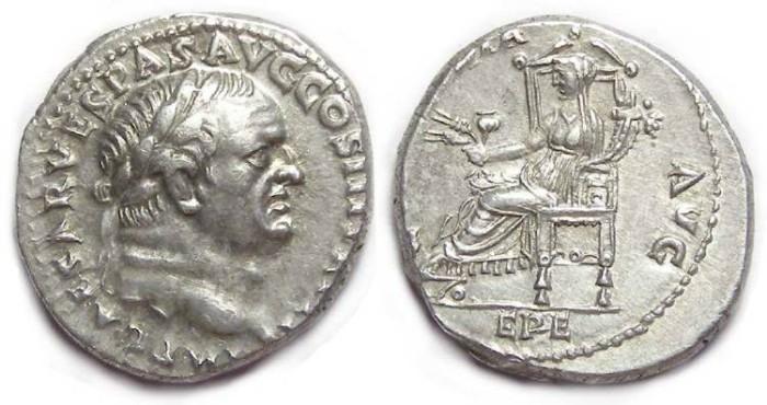 Ancient Coins - Vespasian, AD 69-79. Silver denarius.  Choice Ephesus style portrait.