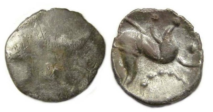 Ancient Coins - Celtic, British. Coreltauvi, South Ferriby type.  ca. 40 to10 BC. Silver unit.