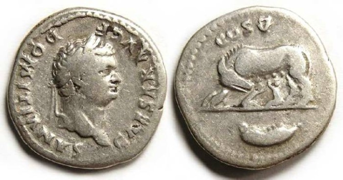 Ancient Coins - Domitian as Caesar under Vespasian, AD 69 to 79. Silver denarius