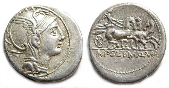 Ancient Coins - Roman Republic. Claudius Pulcher, T. Mallius and Q. Urbinius. ca. 110 to 111 BC.