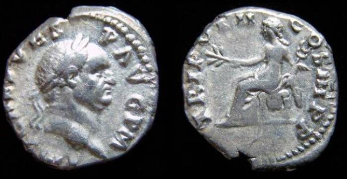 Ancient Coins - Vespasian, AD 69-79. Silver denarius