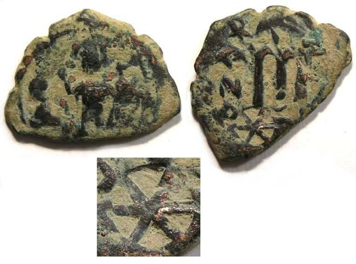 Ancient Coins - Arab-Byzantine bronze imitating a bronze follis of Constans.  With a countermark.