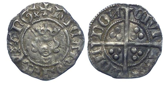 Ancient Coins - English, Richard II, AD 1377 to 1399. Silver half penny.  Scarce sub-variety.
