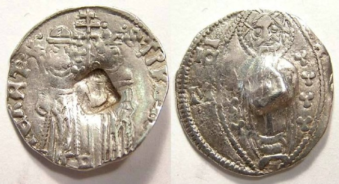 Ancient Coins - Serbia, Stefan Uros IV Dusan as Czar, with Helen, AD 1345-1355.