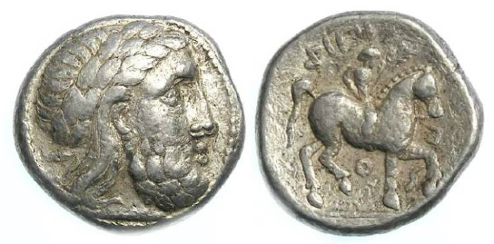Ancient Coins - Eastern (probably Danubian) Celtic. Silver tetradrachm imitating those of Philip II. ca. 3rd century BC.