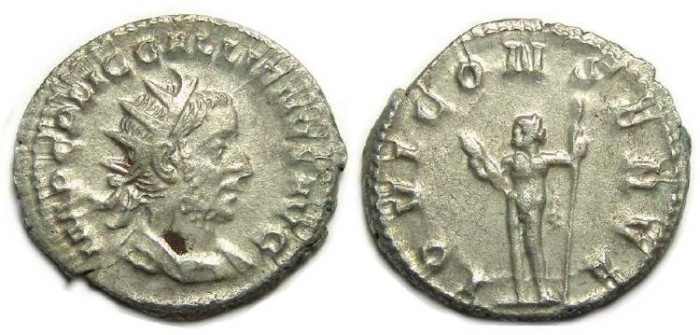 Ancient Coins - Gallienus, AD 253 to 268. Silver Antoninianus