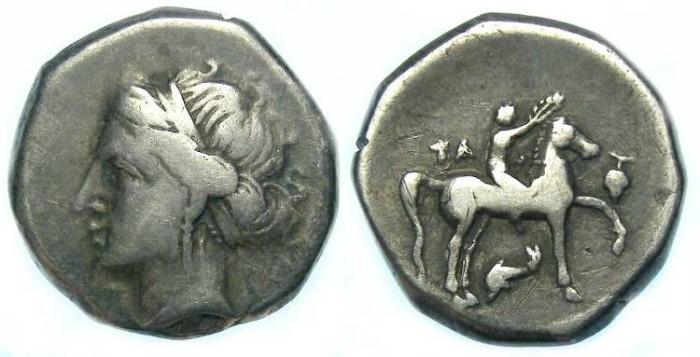 Ancient Coins - Taras in Calabria, ca. 302 to 281 BC. Silver didrachm. Campano-Tarentine type. RARE.