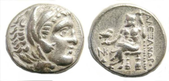 Ancient Coins - Macedonian Kingdom, Alexander the Great, 336 to 323 BC. Silver drachm. LIFETIME ISSUE