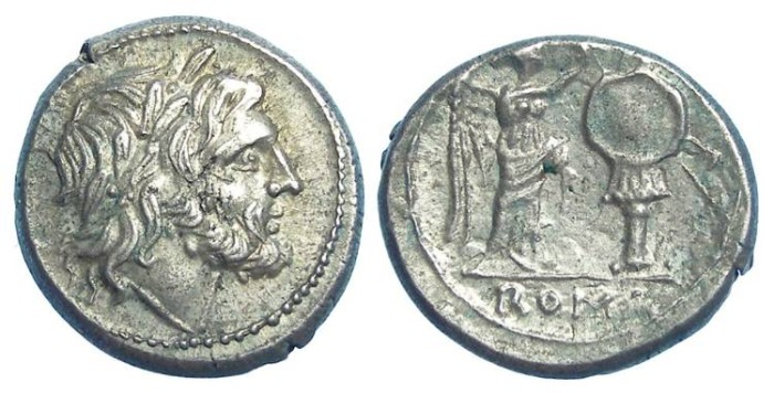 Ancient Coins - Roman Republic. Silver Victoriatus, ca. 211 to 206 BC.