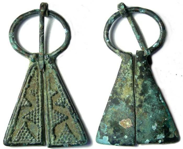 Ancient Coins - Finno-Ugrian bronze Fibula.  ca. 900 to 1100 AD.