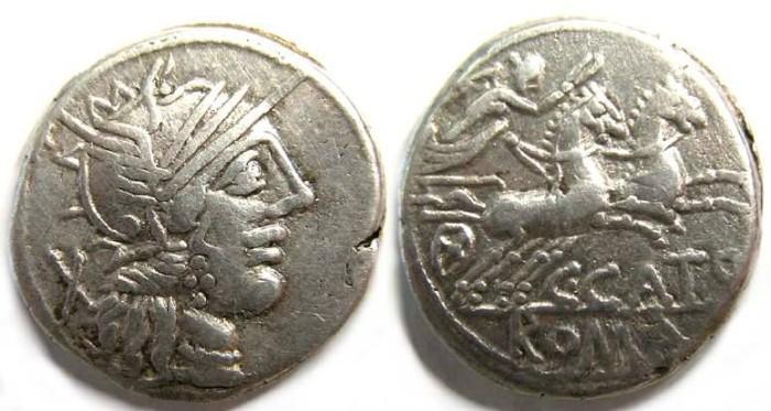 Ancient Coins - Roman Republic. C. Porcius Cato. ca. 123 BC.
