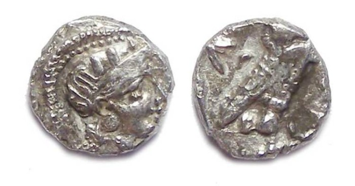 Ancient Coins - Athens, ca. 393 to 300 BC. Silver obol.