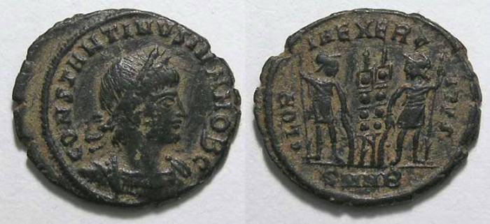 Ancient Coins - Constantine II, as Caesar, AD 317-337.  AE-3/4