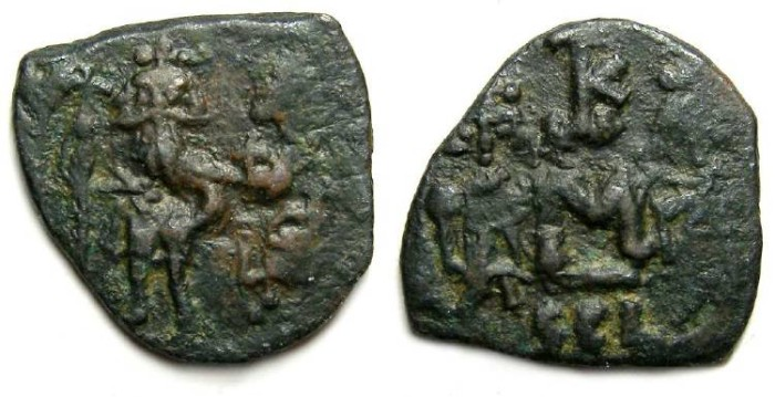 Ancient Coins - Byzantine. Constans II. ca. AD 641-668. Bronze follis.