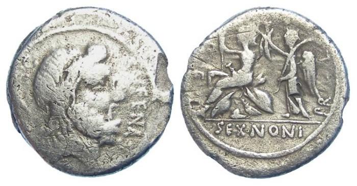 Ancient Coins - Roman Republic. M. Nonius Sufenas. ca. 59 BC. Silver denarius.