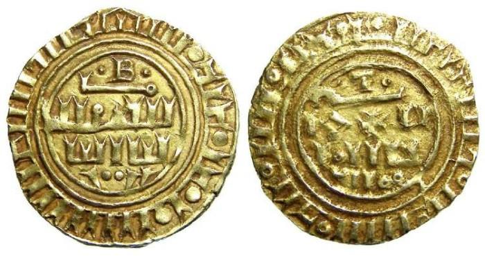 Ancient Coins - Crusaders gold Dinar, imitating Islamic gold.  Third phase, after AD 1189.