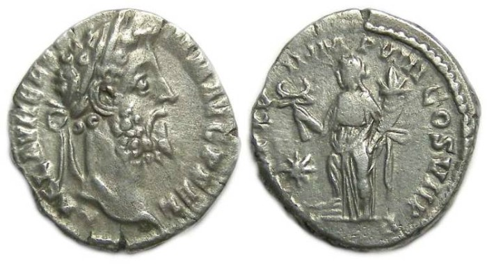 Ancient Coins - Commodus as sole Emperor, AD 180 to 192. Silver denarius.