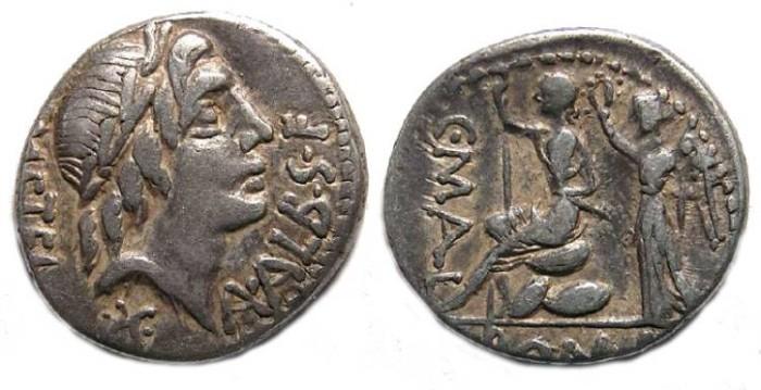 Ancient Coins - Roman Republic. C. Poblicius Metallus, A Postumius S f Albinus, and L Caecilius Metellus. 96 BC. Silver Denarius.