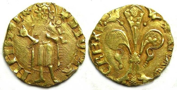 Ancient Coins - Spain, Aragon.  Peter IV, AD 1336 to 1387.  Gold Florin.