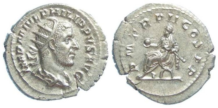 Ancient Coins - Philip I, AD 244-249. Silver antoninianus. Broad flan, medallic strike.