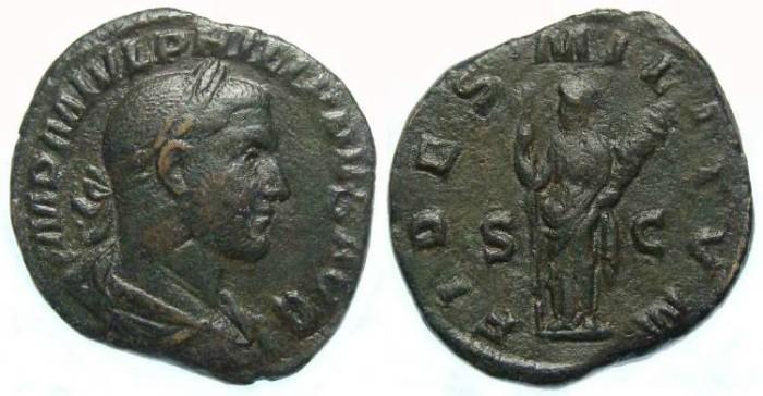 Ancient Coins - Philip I, AD 244-249. Bronze sestertius
