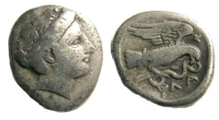 Ancient Coins - Euboia, Chalkis. Silver drachm. ca. 340-294 BC.