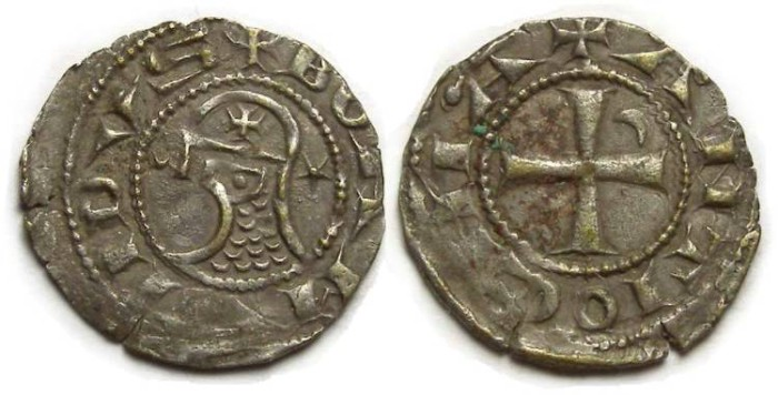 Ancient Coins - Crusaders at Antioch. Denier in name of Bohemond. ca. AD 1163 to 1233.