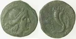Ancient Coins - Bruttium in Italy.  Vibo-Valentia.  AE Semis.  ca. 192-189 BC.