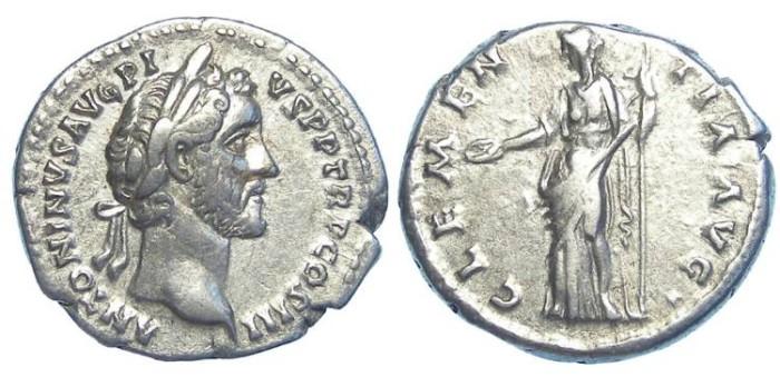 Ancient Coins - Antoninus Pius, AD 138 to 161. Silver denarius