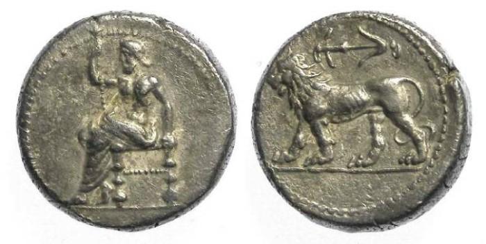 Ancient Coins - Babylon, ca. 311 to 305 BC under Seleukos I as Satrap. Silver tetradrachm.