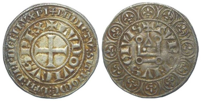 Ancient Coins - France. Louis IX, AD 1226 to 1270. Silver gros tournoisr.