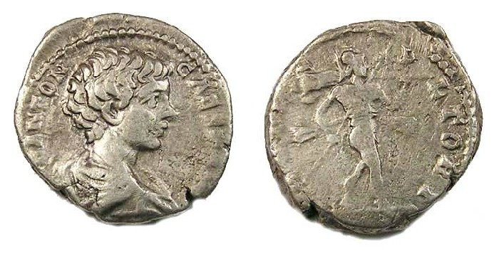 Ancient Coins - Caracalla as Caesar, AD 195 to 198, Silver denarius.