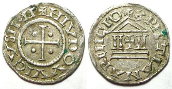 Ancient Coins - Carolingian, Louis the Pious. AD 814 to 840. Silver denier.