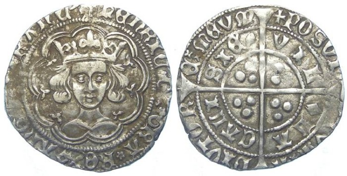 World Coins - English, Henry VI, AD 1422 to 1461. Silver groat.