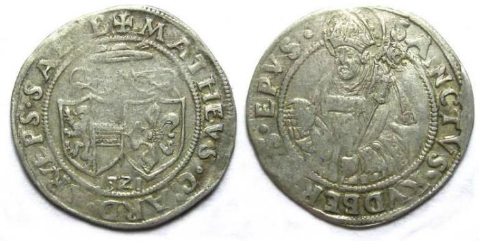 Ancient Coins - Austria. Salzburg. Matthaus Lang von Wellenburg, AD 1521. Silver Batzen.