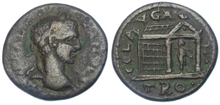Ancient Coins - Severus Alexander, AD 222 to 235. AE 25. From Alexandria Troas.  NICE TEMPLE TYPE