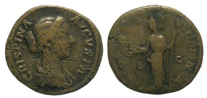 Ancient Coins - Crispina.  AD 178 to 182. AE dupondius.