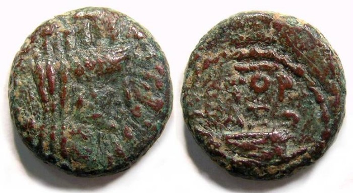 Ancient Coins - Ascalon in Judaea, AE 15, Time of Vespasian.