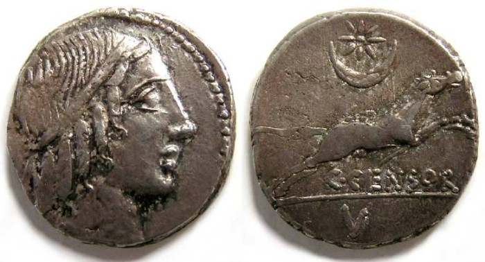 Ancient Coins - Roman Republic. C. Marcius Censorinus. ca. 88 BC.