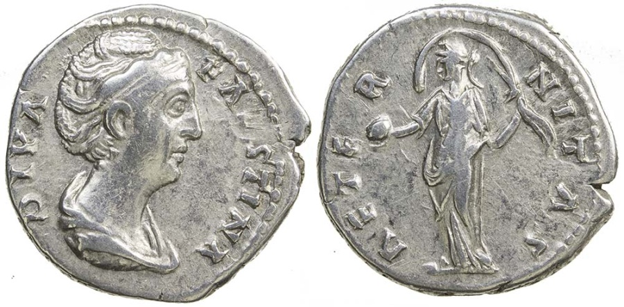 Ancient Coins - Diva Faustina Senior. After AD 142. Silver denarius.