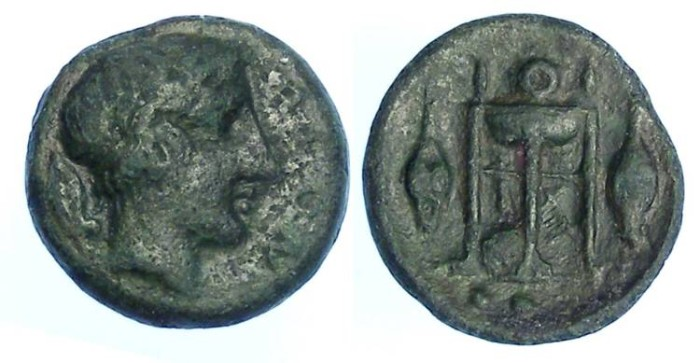 Ancient Coins - Leontini in Sicily.  ca. 405 to 402 BC.  AE tetras.