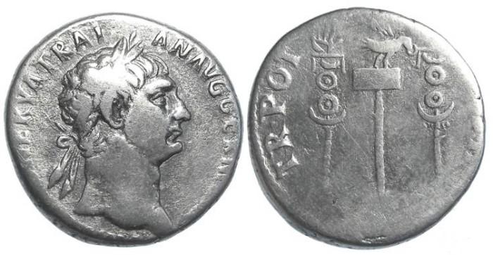 Ancient Coins - Trajan, AD 98 to 117, Silver Cistophorus.