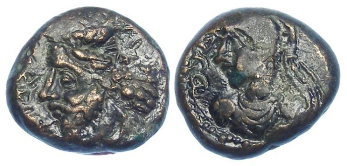 Ancient Coins - Elymaids. Orodes IV and Ulfan. AD 193 to 198. Bronze drachm.