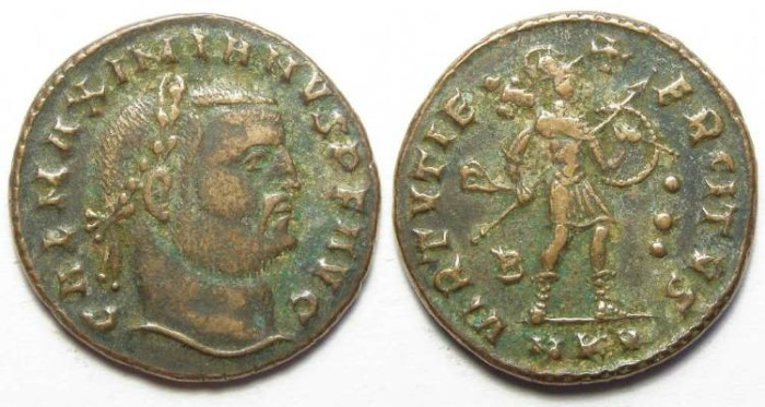 Ancient Coins - Galerius, as Augustus, AD 305-3115. AE follis.  Three dots in reverse field.