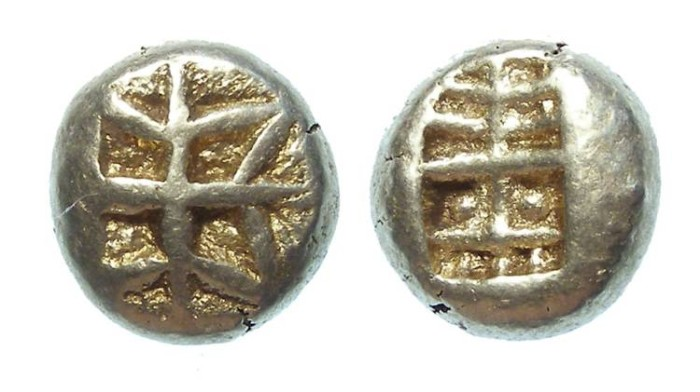 Ancient Coins - Archaic Greek - electrum geometic 1/3 stater. late 7th to early 6th century BC.