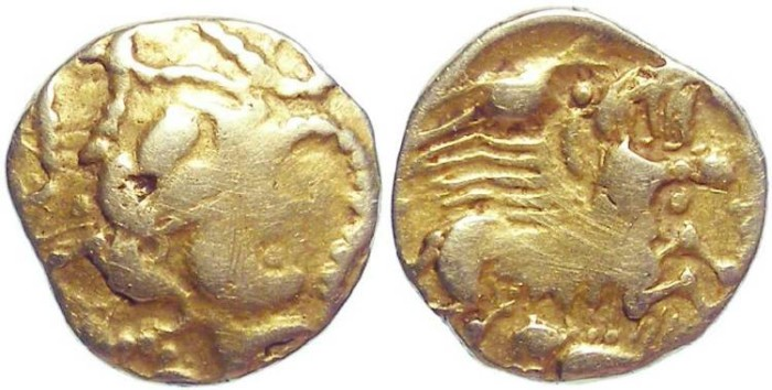 Ancient Coins - North West Gaul.  Celtic.  Armorica gold 1/4 stater.  Late 2nd to early 1st century BC.