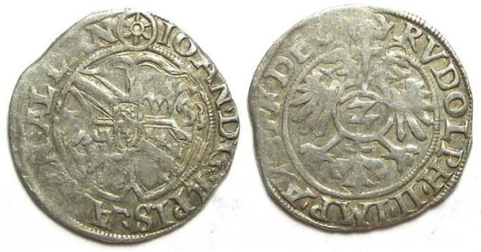 Ancient Coins - French/German. Strassburg Bishopric.  Johann v. Manderscheid. AD 1569 to 1592. Silver 2 Kreuzer dated 1578.