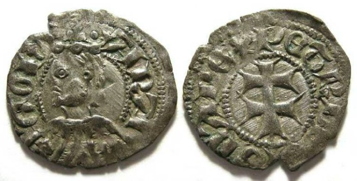 Ancient Coins - Spain.  Aragon.  Pedro IV.  AD 1335 to 1387.  Silver dinero.