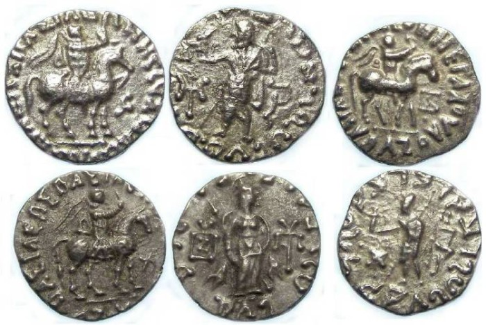 Ancient Coins - Indo-Greek, Scythian Kingdom of Pakistan, Azes II, 36 BC to 5 AD. Silver drachms.  Dealer lot of 3 coins.